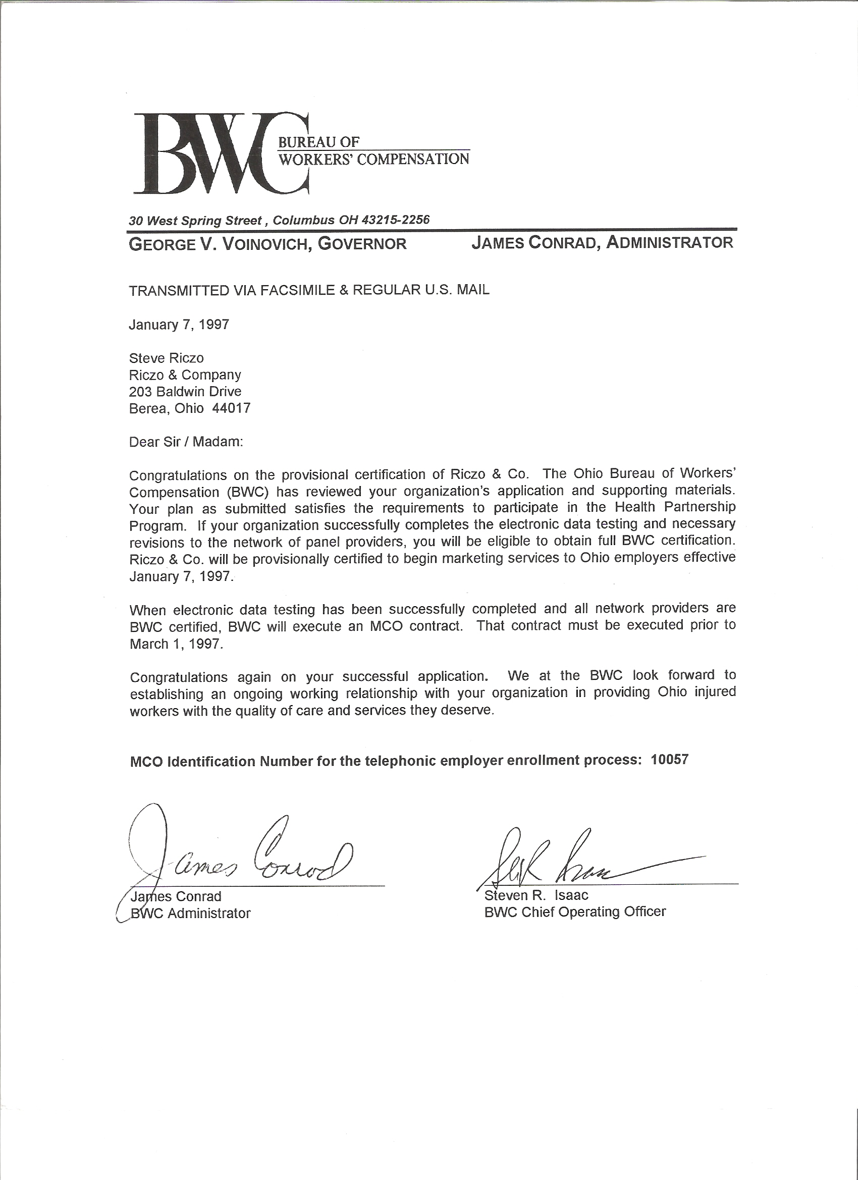 mco report card for riczo co and letter of approval from ohio